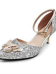 preiswerte -Damen Schuhe Glitzer Paillette Frühling Sommer Pumps Knöchelriemen High Heels Stöckelabsatz Spitze Zehe Schleife Paillette Glitter