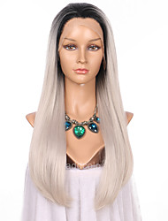 Women Synthetic Wig Lace Front Long Straight Black/Grey Ombre Hair Dark Roots Natural Hairline Natural Wigs Costume Wig