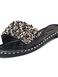 billige -Damer Sko PU Sommer Komfort Sandaler Flad hæl Rund Tå Bjergkrystal Til Afslappet Sort Sølv