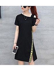 Women's Going out Casual/Daily Simple Active Shift Dress,Solid Round Neck Above Knee Short Sleeves Cotton Spandex Summer Mid Rise