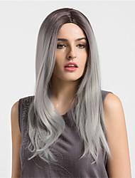 abordables -Pelo sintético pelucas Corte Recto Ondulado Natural Raíces oscuras Pelo Ombre Peluca natural Larga Gris oscuro