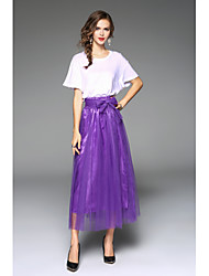 cheap -Women's Bow Swing Solid Layered Skirts High Rise Maxi Micro-elastic Summer