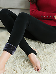 moda donna caldo pile foderato legging medio solido di colore solido, solido