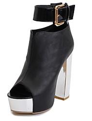 baratos -Mulheres Sapatos Courino Verão / Outono Botas da Moda Botas Salto Robusto Peep Toe Botas Curtas / Ankle Presilha para Casamento / Festas