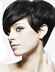 preiswerte -Synthetische Perücken Glatt Pixie-Schnitt Schwarz Damen Kappenlos Promi-Perücke Natürliche Perücke Cosplay Perücke Kurz Synthetische Haare