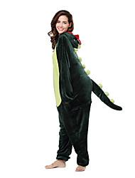 abordables -Pijamas Kigurumi Dinosaurio Pijamas de una pieza Disfraz Vellón de Coral Verde Cosplay por Ropa de Noche de los Animales Dibujos animados