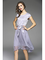Women's Going out Beach Holiday Sexy Boho Street chic A Line Swing Dress,Solid V Neck Midi Short Sleeve Others Spring Summer Mid Rise