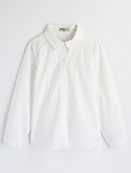 Girls' Solid Blouse,Cotton Fall Long Sleeve White