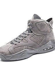 cheap -Men's Sneakers Comfort Bootie Spring Fall Breathable Mesh PU Basketball Shoes Casual Outdoor Split Joint Lace-up Flat Heel Khaki Gray