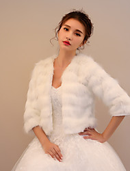 Faux Fur Wedding Party / Evening Women's Wrap With Hollow-out Shrugs