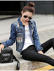 Women's Casual/Daily Street chic Spring Fall Denim Jacket,Letter Shirt Collar Long Sleeve Regular Cotton