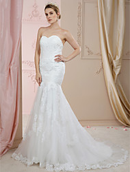 cheap -Mermaid / Trumpet Sweetheart Neckline Court Train Lace / Tulle Custom Wedding Dresses with Beading / Appliques / Buttons by LAN TING