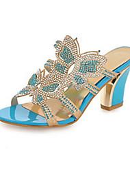 preiswerte -Damen Schuhe PU Frühling / Herbst Komfort / Neuheit Sandalen Blockabsatz Offene Spitze Kristall / Glitter / Schnürsenkel Gold / Blau
