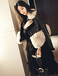 Feminino Casaco de Pêlo Festa Casual Moda de Rua Temática Asiática Outono Inverno,Sólido Curto Pêlo Sintético Lapela Xale Manga Longa