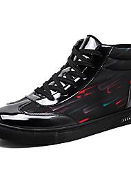 baratos -Homens sapatos Courino / Couro Envernizado Primavera / Outono Conforto Tênis Botas Cano Médio Branco / Preto / Preto / Vermelho / Black /