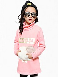 cheap -Girl's Floral Dress,Cotton Winter All Seasons Long Sleeve Cartoon Black Blushing Pink Gray