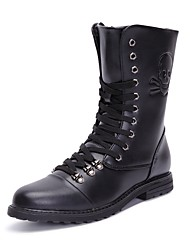 cheap -Men's Shoes PU Leather Spring Fall Combat Boots Motorcycle Boots Fashion Boots Riding Boots Comfort Boots Mid-Calf Boots for Casual