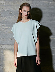 Women's Casual/Daily Simple Short Pullover,Solid Round Neck Short Sleeves Rayon Nylon Fall Winter Medium Micro-elastic