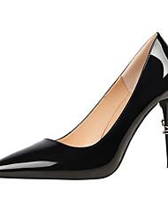 preiswerte -Damen Schuhe Kunstleder Frühling / Herbst Komfort High Heels Stöckelabsatz Spitze Zehe für Kleid Rot / Mandelfarben / Champagner