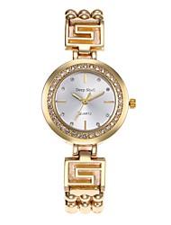 abordables -Mujer Cuarzo Reloj de Cristal Pavé Chino Gran venta Aleación Banda Casual Reloj creativo único Moda Plata Dorado