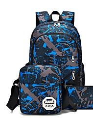 baratos -Homens Bolsas Tela de pintura Conjuntos de saco 3 Pcs Purse Set Fru-Fru para Casual Azul