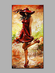 cheap -Hand-Painted People Vertical, Art Deco/Retro Canvas Oil Painting Home Decoration One Panel