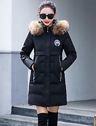 Damen Gefüttert Mantel,Standard Street Schick Ausgehen Solide-Polyester Waschbär-Pelz Polypropylen Langarm