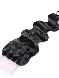 cheap -16 Inches Grade 8A 4x4 Lace Top Closure 100% Brazilian Human Hair 3 Part/Middle Part/Free Part #1B Natural Black Body Wave Hair Closure 1 Pcs
