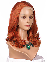 cheap -Women Synthetic Wig Lace Front Medium Length Wavy Orange Natural Hairline Lolita Wig Party Wig Halloween Wig Cosplay Wig Costume Wig