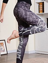 cheap -Women's Sporty Legging - Print, Solid Colored Mid Waist