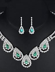 economico -Per donna Orecchini a goccia Collana Smeraldo sintetico Zirconi Classico Elegant Matrimonio Evento Zircone cubico goccia Collane Orecchini