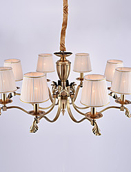Europe Eight Heads Amercian Classic Style Copper Chandelier Lamp for the Living Room / Bedroom /Canteen Room / Foyer Simple Luxury Lighting Fixture