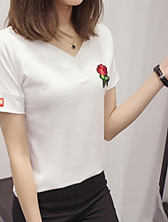 Women's Casual/Daily Simple Summer T-shirt,Embroidery V Neck Short Sleeves Cotton Medium