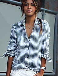 cheap -Women's Daily Casual Street chic Summer Shirt,Striped Shirt Collar Long Sleeves Cotton