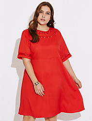 cheap -Women's Daily Plus Size Street chic Shift Dress,Solid Round Neck Knee-length Half Sleeves Rayon Spring Fall Mid Rise