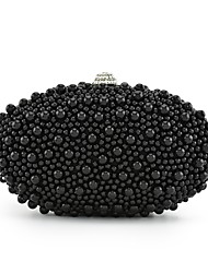 Women Bags All Seasons Polyester Clutch Beading for Wedding Event/Party Black Red Beige