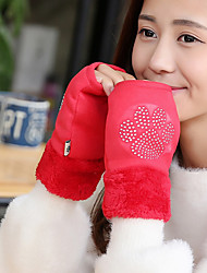 Women's Wool Rabbit Fur PU Wrist Length Half Finger,Accessories Casual Winter Gloves Keep Warm Fashion Solid Winter