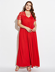 cheap -Women's Plus Size Cotton Swing Dress - Solid Colored Red High Rise Maxi Deep V / Spring