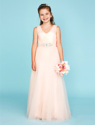 A-Line Princess V-neck Floor Length Tulle Junior Bridesmaid Dress with Crystal Detailing Criss Cross by LAN TING BRIDE®