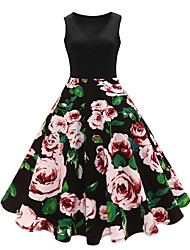 cheap -Women's Plus Size Street chic Sheath Dress - Floral Jacquard