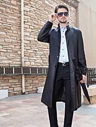 Men's Casual/Daily Simple Winter Coat,Solid Stand Long Sleeve Long Lambskin
