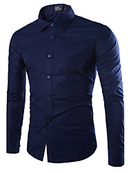 Men's Daily Plus Size Casual All Seasons Shirt,Solid Shirt Collar Long Sleeves Cotton Medium