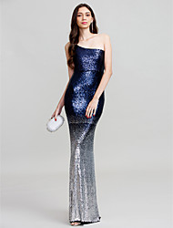 cheap -Sheath / Column One Shoulder Floor Length Polyester Formal Evening Wedding Party Dress with Sequins by Z&X