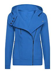 Women's Daily Holiday Street chic Winter Fall Jacket,Solid Hooded Long Sleeve Regular Polyester
