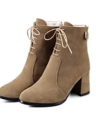 cheap -Women's Shoes Suede Fall Winter Comfort Novelty Fashion Boots Bootie Boots Chunky Heel Pointed Toe Booties/Ankle Boots Zipper Lace-up For