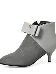 cheap -Women's Shoes Leatherette Winter Bootie Boots Stiletto Heel Pointed Toe Booties/Ankle Boots Bowknot Zipper for Dress Party & Evening