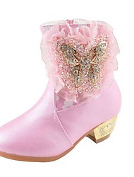 Girls' Shoes Synthetic Microfiber PU Fall Winter Snow Boots Boots For Casual Blushing Pink White
