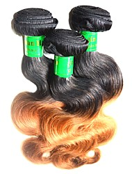 Remy Indian Ombre Hair Weaves Body Wave Hair Extensions Three-piece Suit Black/Medium Brown/Strawberry Blonde