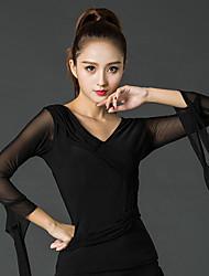 baratos -Dança Latina Blusas Mulheres Apresentação Seda Sintética Plissado Luva de comprimento de 3/4 Blusas