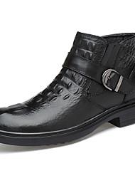 baratos -Homens sapatos Pele Napa Outono / Inverno Botas da Moda / Curta / Ankle / Coturnos Botas Botas Curtas / Ankle Preto